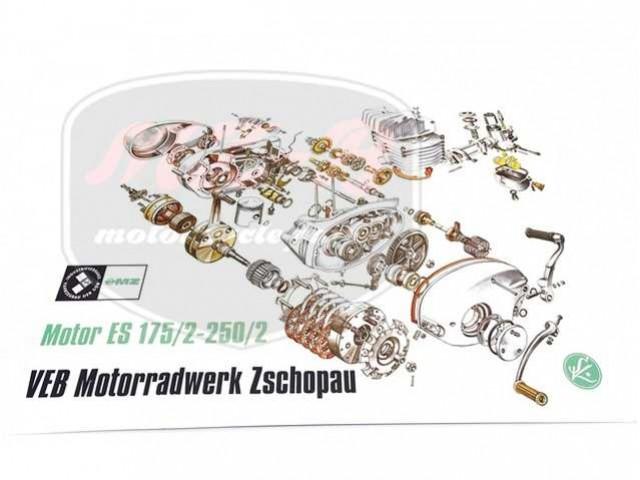MZ/ES 250 EXPLOSIONSZEICHNUNG VOM MOTOR ES175/2 250/2