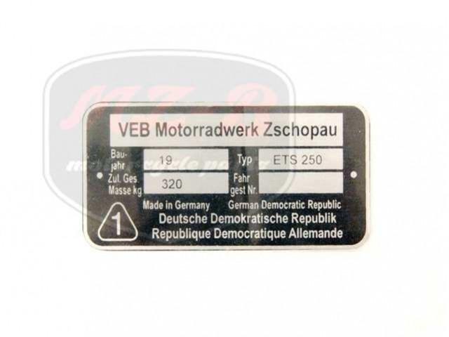 MZ/ETS 250 TYPSCHILD /ETS250/